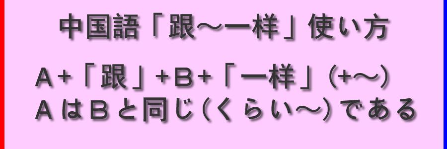 中国語「跟~一样」の使い方